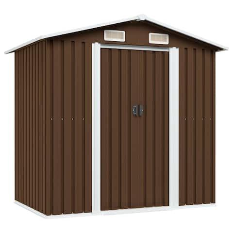 """vidaXL Garden Storage Shed Brown 80.3""""x52""""x73.2"""" Steel"""