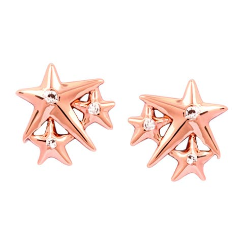 Chrysalis Charmed 14K Rose Gold-Flashed Brass Lucky Star Stud Earrings - White