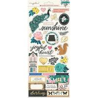 """Maggie Holmes Flourish Cardstock Stickers 6""""X12"""" 2/Pkg-Accents W/Gold & Rose Gold Foil"""