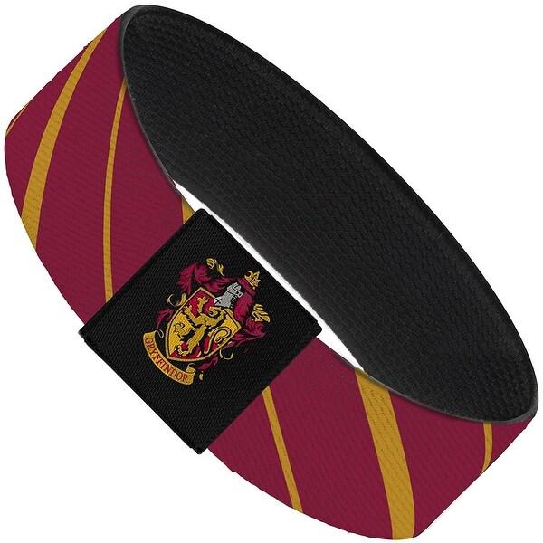 """Gryffindor Stripe5 Burgundy Gold Elastic Bracelet   1.0"""" Wide"""