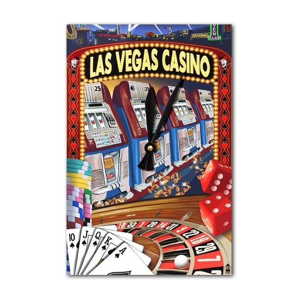 Las Vegas, NV - Casino Montage - LP Artwork (Acrylic Wall Clock) - acrylic wall clock