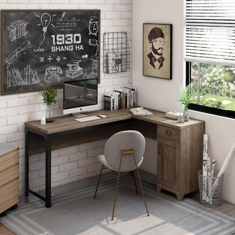 Marcus Industrial Multi-storage L-shape Desk