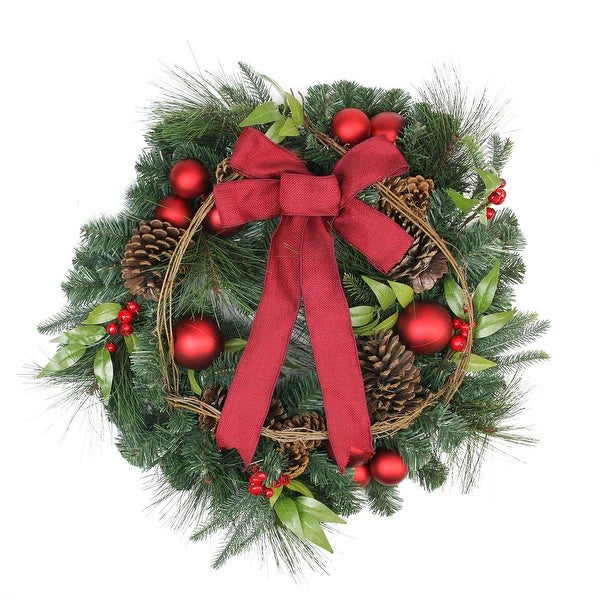 """24"""" Pine with Red Ball Ornaments and Pine Cones Artificial Christmas Wreath - Unlit - green"""