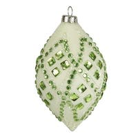 """4"""" Good Tidings Ivory with Pastel Green Gems Glass Teardrop Christmas Ornament"""