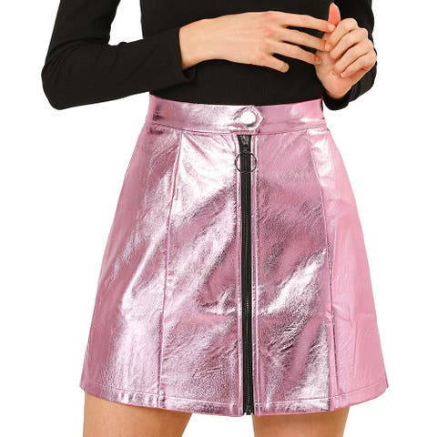 Allegra K Women's Casual Metallic Zipper High Waist Mini Skirt