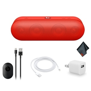 Beats by Dr. Dre Beats Pill+ Portable Bluetooth Speaker Standard Collection Bundle Kit with Extra Charging Cable + More Red