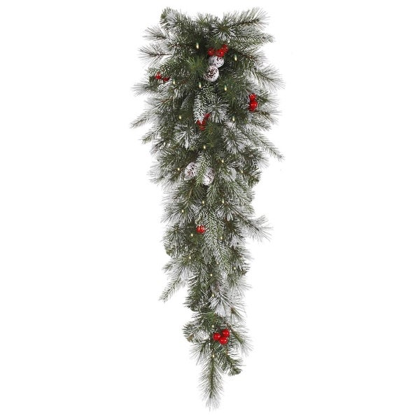 """36"""" Pre-Lit Frosted Pine Berry Artificial Christmas Teardrop Swag - Clear Lights - green"""