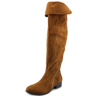 Report Signature Gwyneth Women  Round Toe Leather Tan Over the Knee Boot