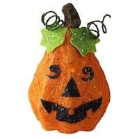 "10.75"" Lighted Sisal Orange Happy Face Jack-O-Lantern Pumpkin Halloween Outdoor Decoration"