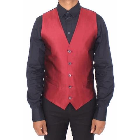 Red Silk Dress Vest Blazer Men's Jacket
