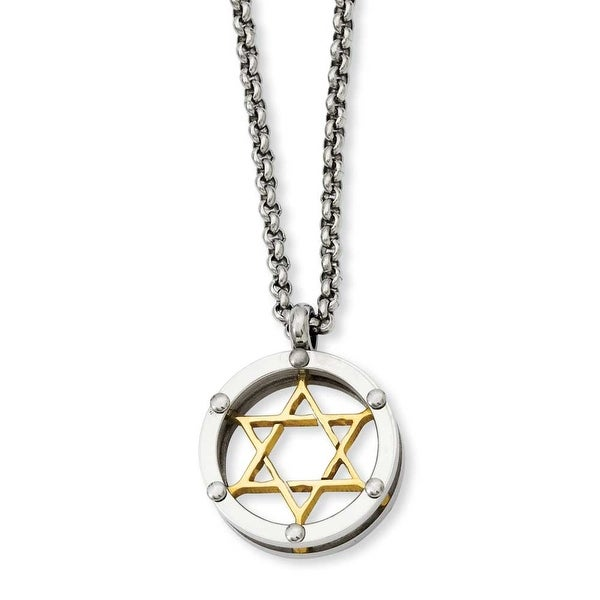 Stainless Steel Polished & Gold-plated Star of David 20in Necklace (2 mm) - 20 in