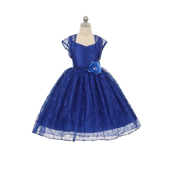 6c7b36529 Chic Baby Little Girls Royal Blue Lace Hi-Low Special Occasion Jacket Dress  2-