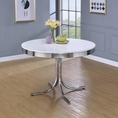 Porch & Den Canyon White/ Chrome Round Retro-style Dining Table