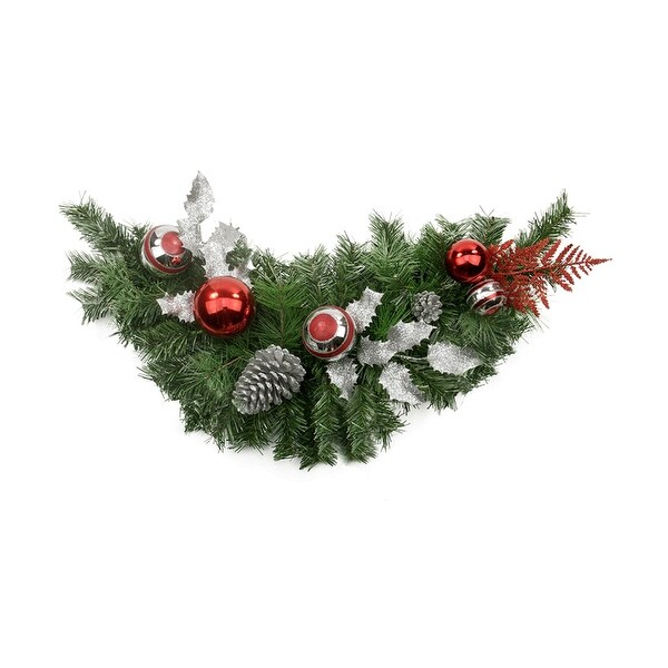 """29"""" Red and Silver Ornaments and Pine Cone Artificial Christmas Swag - Unlit"""