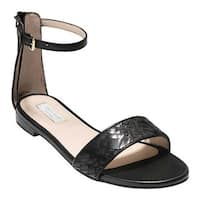 Cole Haan Women's Genevieve Weave Ankle Strap Sandal Black/Black Genevieve Weave/Leather