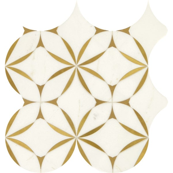 """Daltile LVBLOSSMS1P Lavaliere - 8"""" x 8"""" Sheet Varied Deco Mosaic Wall Tile - Matte Marble Visual - Sold by Sheet"""