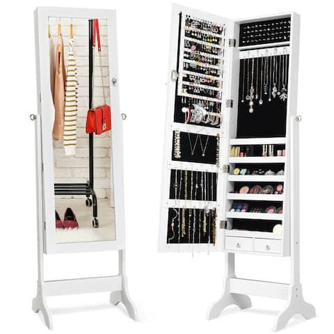 Gymax Jewelry Organizer Vanity Box w/ Full Length Mirror Black/ White