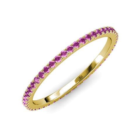 TriJewels Amethyst 1/2 ctw French Set Women Eternity Ring 14K Gold