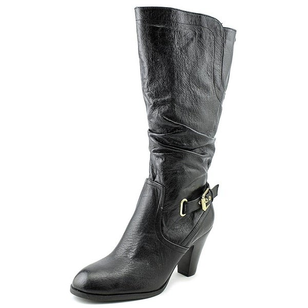 GUESS Womens Mallay Leather Almond Toe Mid-Calf Fashion Boots