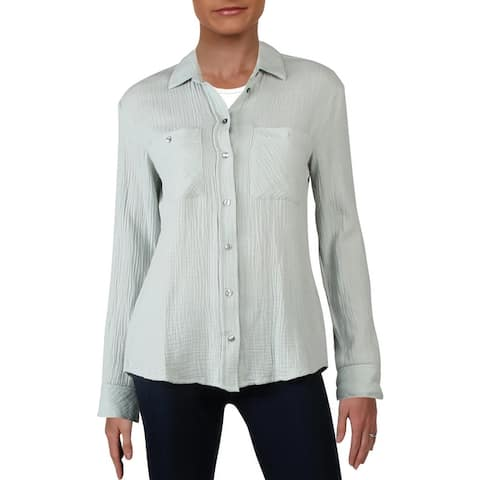 1.State Womens Button-Down Top Cotton Gauze
