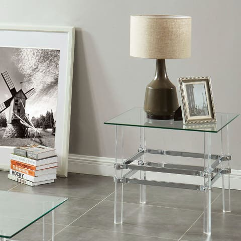 Furniture of America Thruston Contemporary Chrome End Table