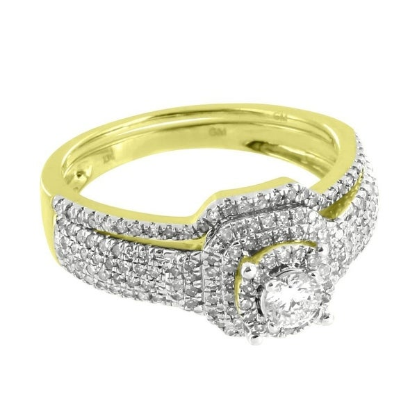 Womens Wedding Ring Engagement Band 2pc Solitaire Diamonds 10k Yellow Gold