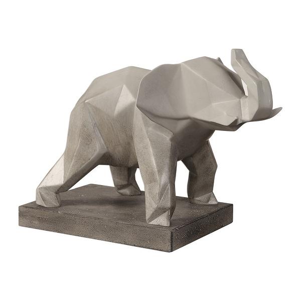 "15"" Duke Gray Geometric Elephant Sculpture with Highlighted Edges - N/A"