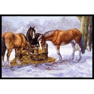 Carolines Treasures BDBA0297JMAT Horses Eating Hay in the Snow Indoor or Outdoor Mat 24 x 36