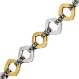 Stainless Steel Gold-plated & Brushed 7.5in with ext Bracelet