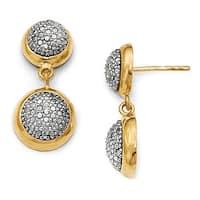 Italian Sterling Silver Gold-tone Post Dangle Earrings