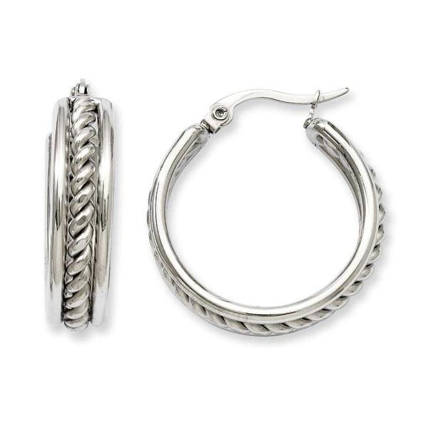 Stainless Steel 20mm Twisted Middle Hoop Earrings