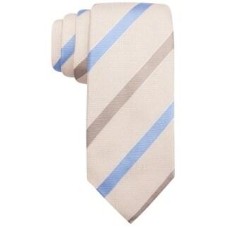 Tasso Elba NEW Beige Ribbon Striped Blue Brown Neck Tie Silk Accessory