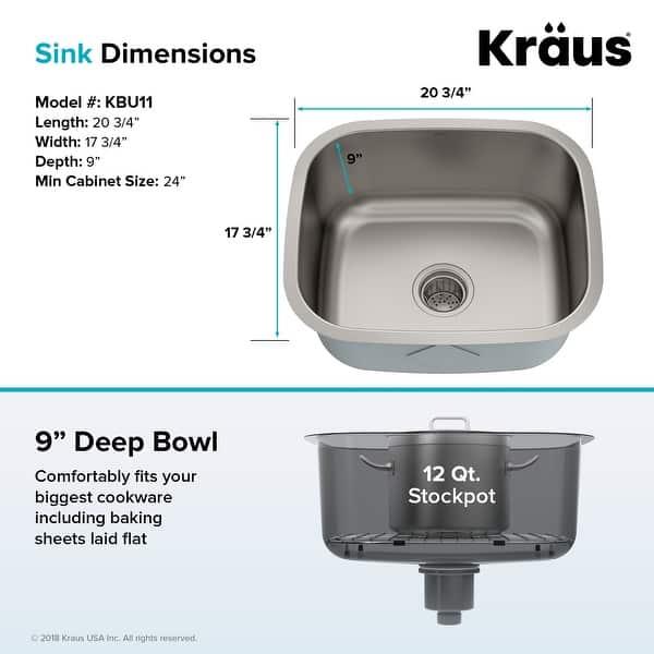 Shop Kraus Premier Stainless Steel 20 Inch Undermount Kitchen Bar Sink Overstock 5070920