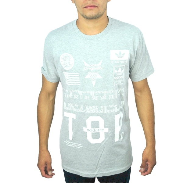 688e4f29a7d Shop Adidas Top 10 Originals Trefoil Logo Men s Grey Graphic T-Shirt - Free  Shipping On Orders Over  45 - Overstock - 17067789