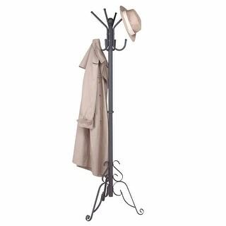 Coat Rack Stand Black Aluminum Hall Tree 69 1/2 Inch