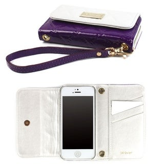JAVOedge Vintage Quilted Wallet Case for the Apple iPhone 5s, iPhone 5 (White/Purple) - white and purple