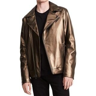 Calvin Klein Gold Mens Large L Pleather Asymmetrical Moto Jacket