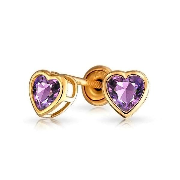 d06f3e77e Bling Jewelry Purple CZ Heart Baby Safety Stud earrings 14k Gold 4mm
