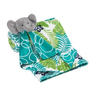 Lambs & Ivy Blue/Green/Gray Tropical Leaf and Bubble Baby Blanket w/ Elephant Lovey