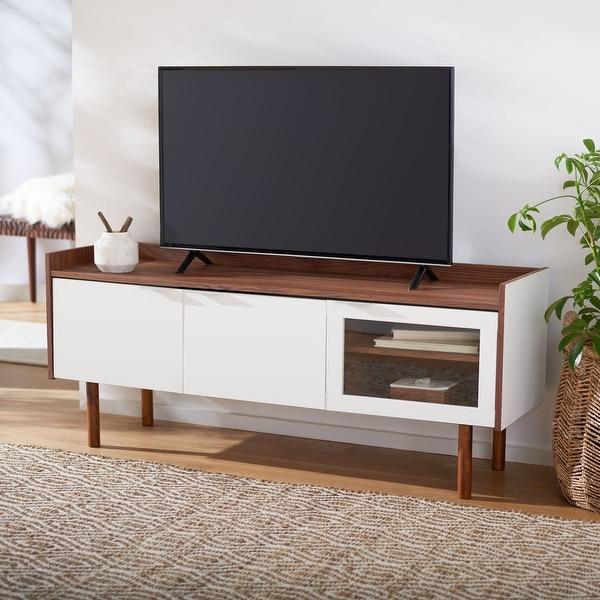 "SAFAVIEH Safiya Walnut 55-inch Storage Media TV Stand - 55.1"" W x 15.7"" L x 22.7"" H. Opens flyout."