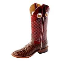 Horse Power Western Boots Men Croc Print Roper Square Chocolate