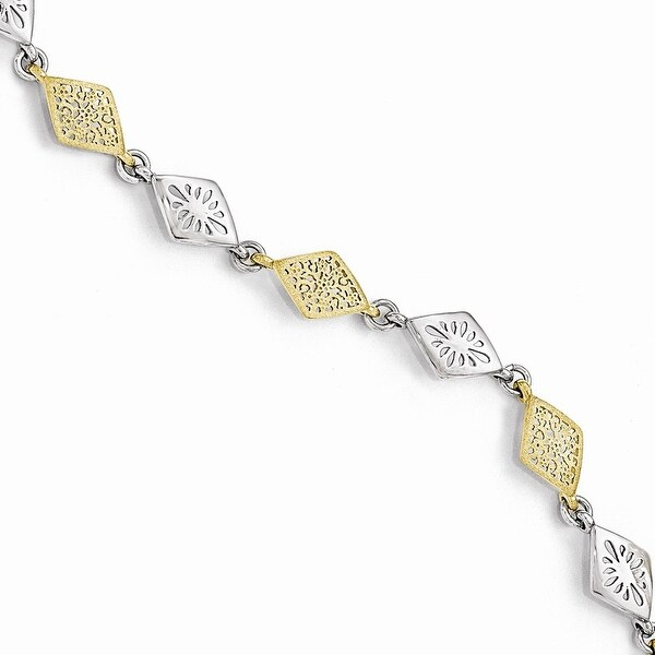 Italian Sterling Silver Gold-tone Flash 24k Plated Bracelet - 7.5 inches