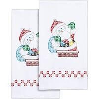 "Santa - Stamped White Decorative Hand Towel Pair 17""X28"""