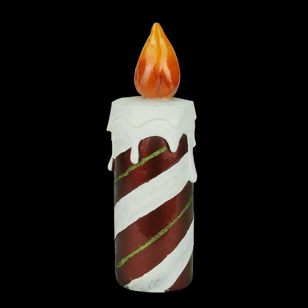"""9.75"""" LED Lighted Festive Candy Cane Striped Candle Christmas Decoration"""