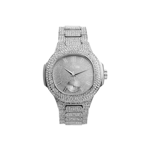 Blinged Out Oblong Diamond Case Silver Metal Men's Watch with Matching Iced Out Bracelet Gift Set