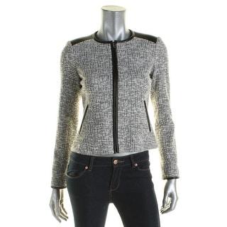 Calvin Klein Womens Petites Blazer Faux Leather Trim Boucle