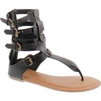 Wild Diva Tanaya-540 Women's T-Strap Buckle Gladiator Back Zip Flat Thong Sandal - Black