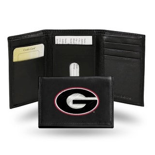 4 Black And White College Georgia Bulldogs Embroidered Trifold Wallet N A
