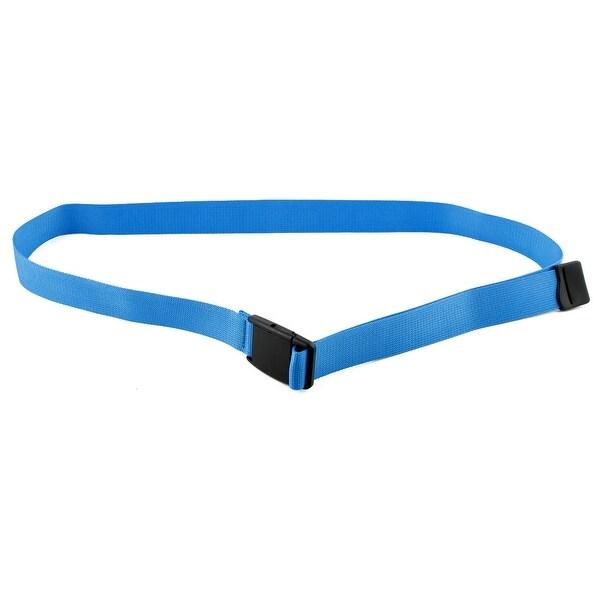 Unisex Outdoor Exercise Nylon Adjustable Canvas Web Waist Belt Blue