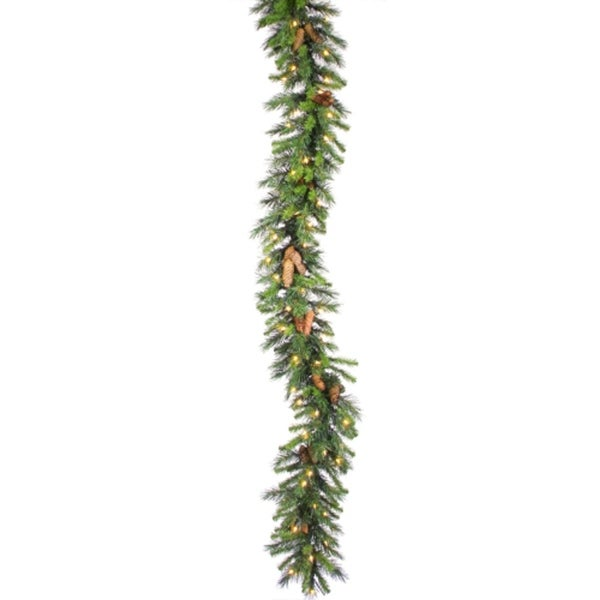 """50' x 12"""" Commercial Pre-Lit Cheyenne Pine Christmas Garland - Clear Dura Lights"""